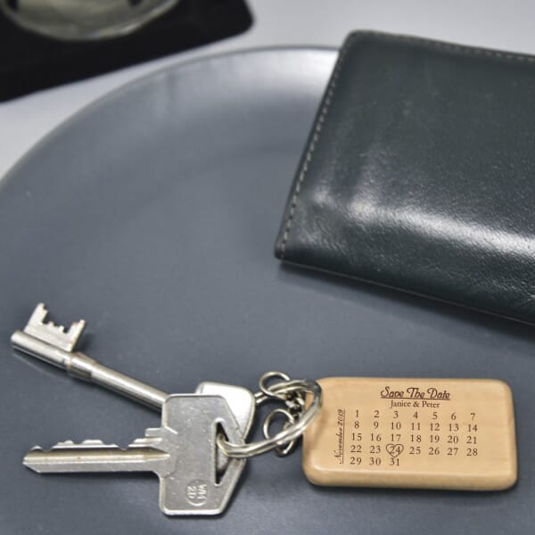 Personalised Wooden Keyring - Save The Date