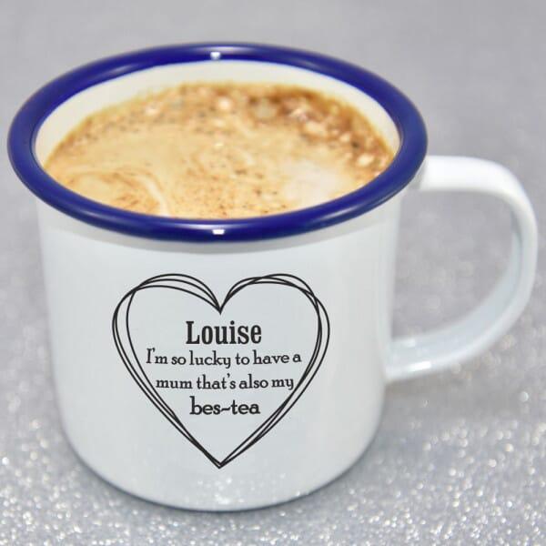 Personalised Mum's My Bes-tea Enamel Mug