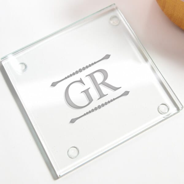 Personalised Initials Glass Coasters - 4 Pack