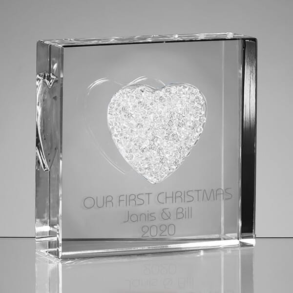 Personalised Our First Christmas Glass Heart