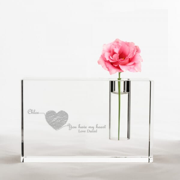 Personalised Heart Crystal Glass Vase