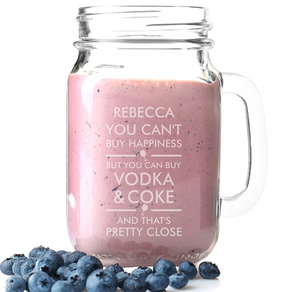 Personalised Glass Mason Jar - You Can't Buy Happiness