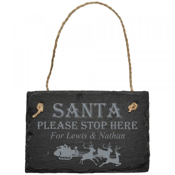 Personalised Santa Please Stop Here Slate Sign