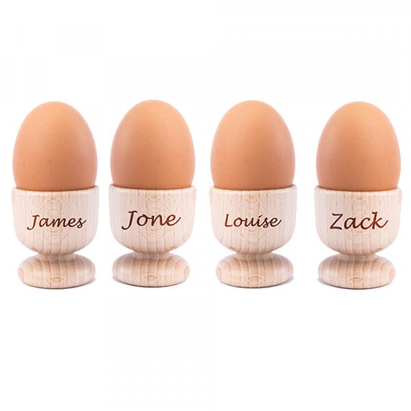 Personalised Names Wooden Egg Cups - 4 Pack