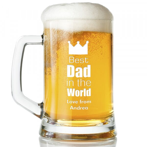 Personalised Best Dad in the World Glass Tankard