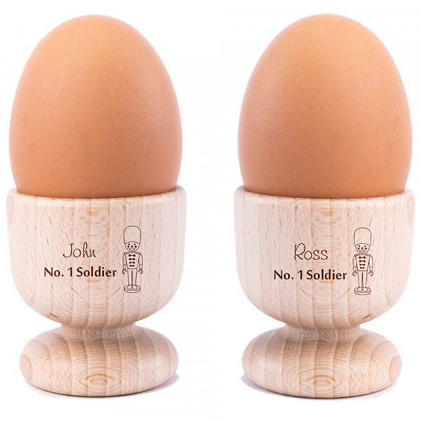 Personalised Soldier Wooden Egg Cups - 2 Pack