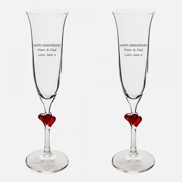 Happy Anniversary Red Heart Champagne Flutes