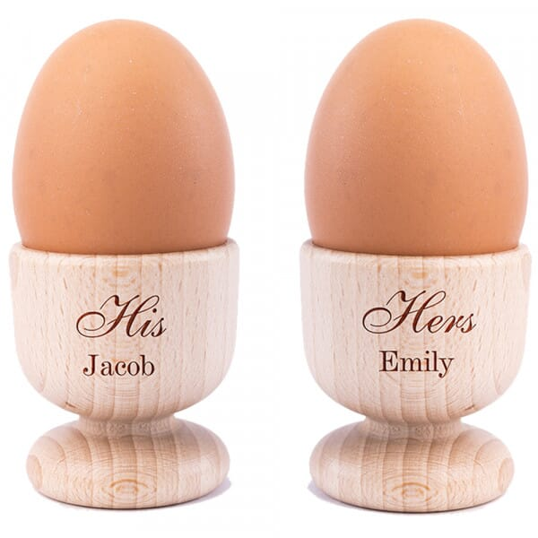 Personalised His & Hers Wooden Egg Cups - 2 Pack