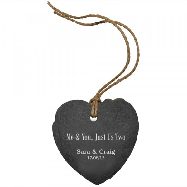 Personalised Me & You Small Slate Heart Sign