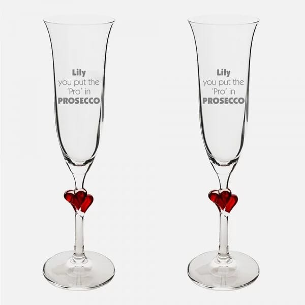 You Put The Pro Red Heart Champagne Flutes