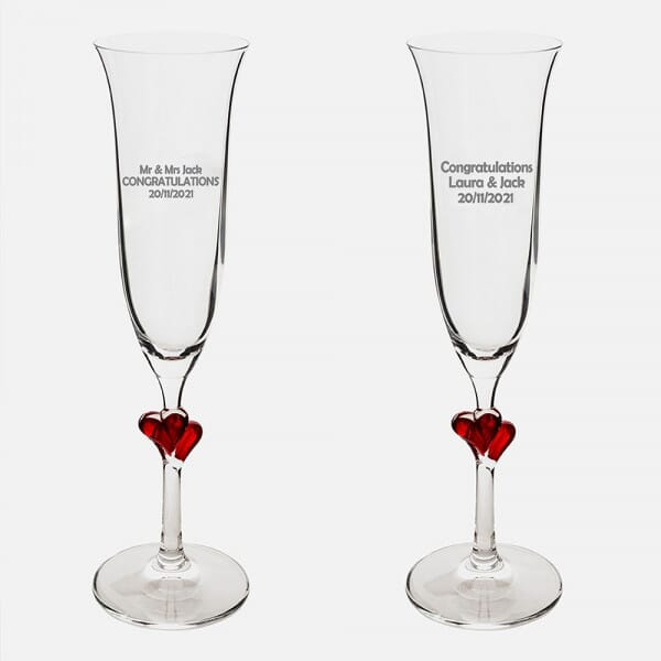 Personalised Wedding Red Heart Champagne Flutes