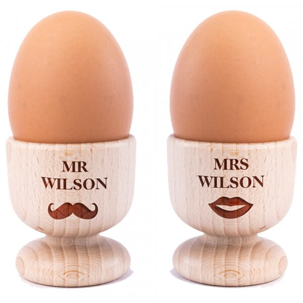 Personalised Mr & Mrs Humour Wooden Egg Cups - 2 Pack