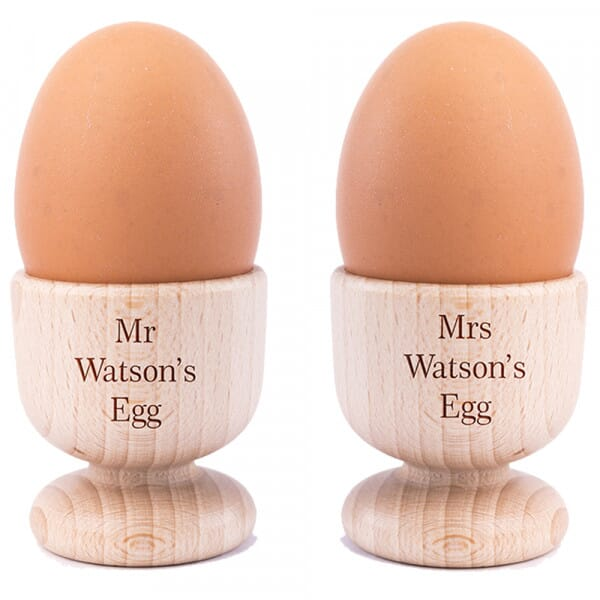 Personalised Mr & Mrs Wooden Egg Cups - 2 Pack