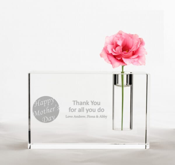 Personalised Mother's Day Crystal Glass Vase