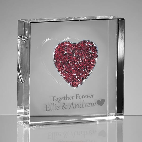Personalised Together Forever Glass Heart
