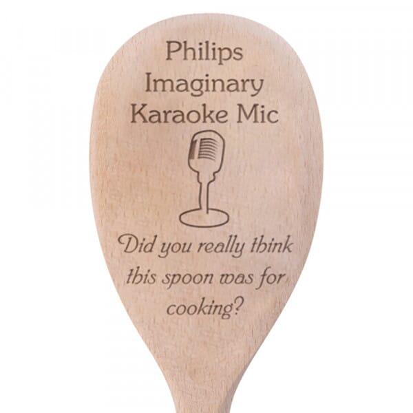 Personalised Wooden Spoon - Karaoke Mic