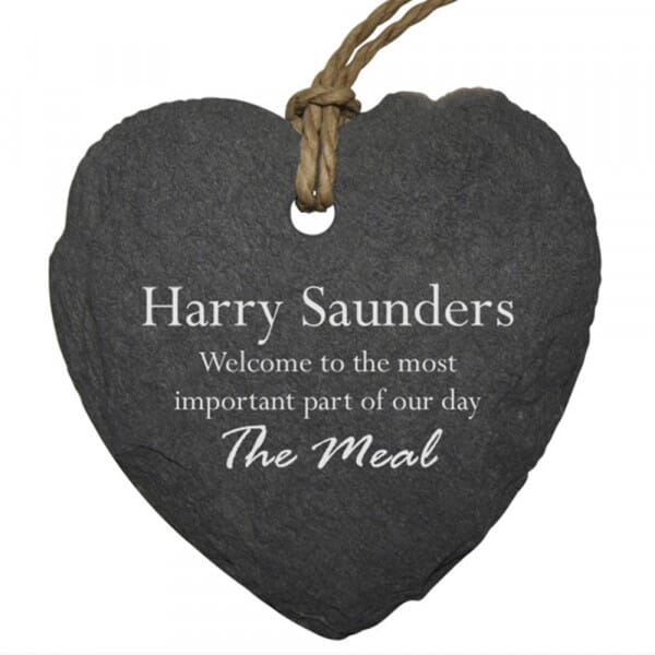 Personalised Welcome To Our Wedding Small Slate Place Setting