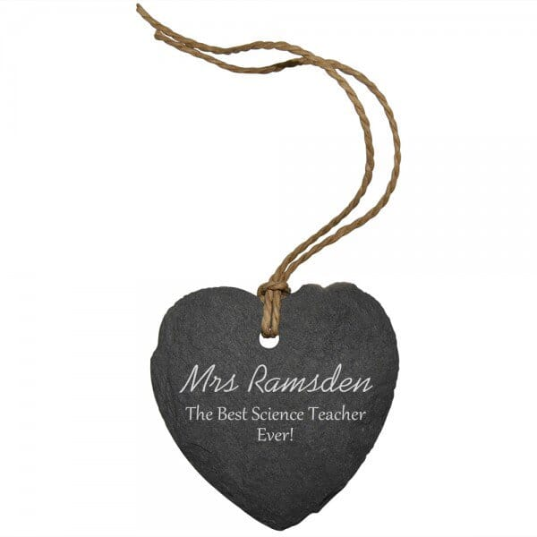 Personalised Best Teacher Ever Small Slate Heart Sign