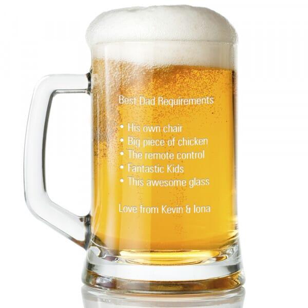 Personalised Best Dad Glass Tankard