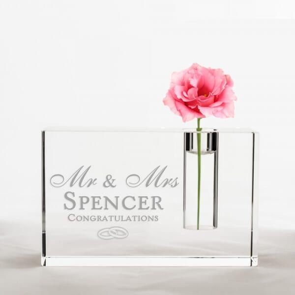 Personalised Wedding Crystal Glass Vase