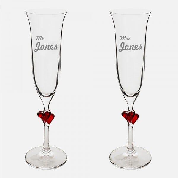 Surname Red Heart Champagne Flutes