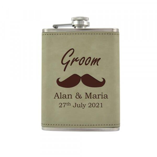 Personalised Hip Flask - Wedding Moustache