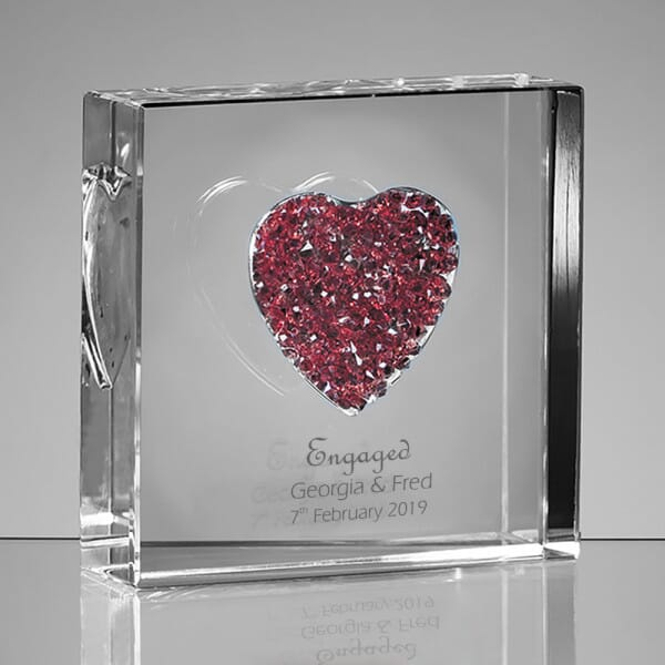 Personalised Engaged Glass Heart