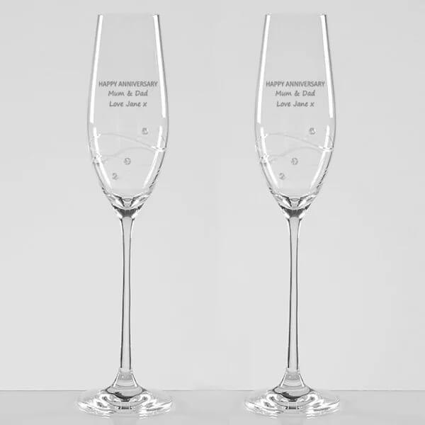 Happy Anniversary Diamante Champagne Flutes