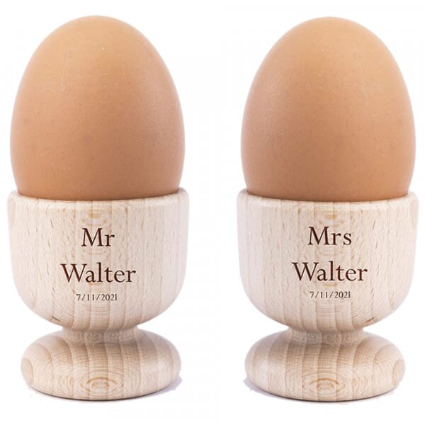 Personalised Couple's Wooden Egg Cups - 2 Pack