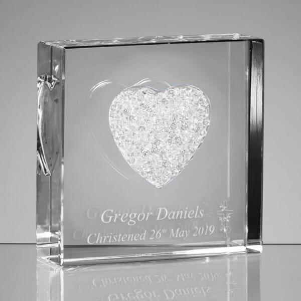 Personalised Christening Glass Heart
