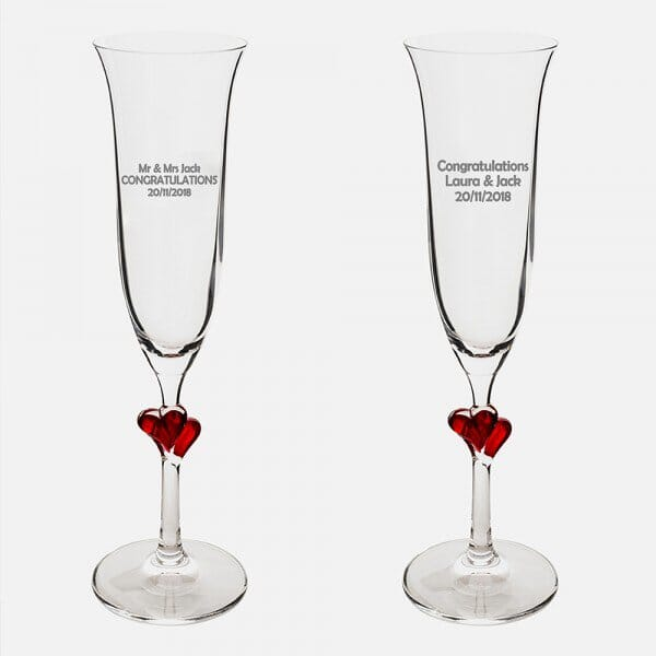 Congratulations Red Heart Champagne Flutes Personalised