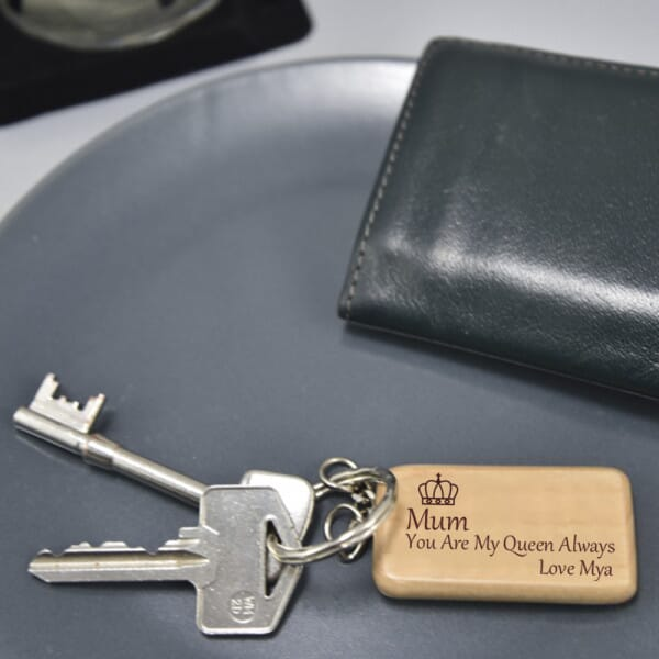 Personalised Wooden Keyring - Mum You Are My Queen