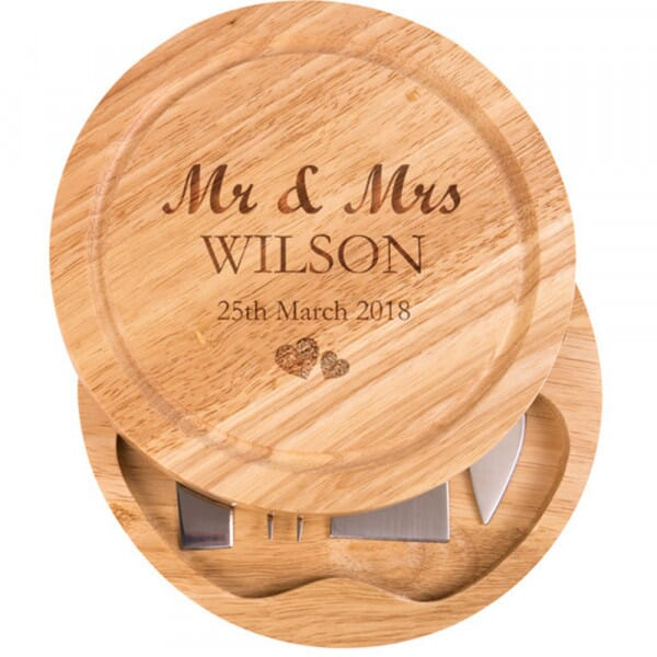 Personalised Cheese Board - Mr & Mrs with love hearts