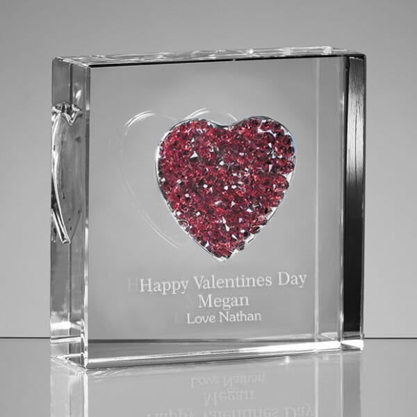 Personalised Valentines Glass Heart