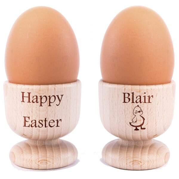 Personalised Happy Easter Wooden Egg Cups