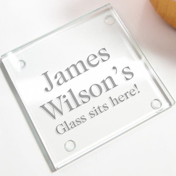 Personalised Glass Sits Here Glass Coasters - 4 Pack