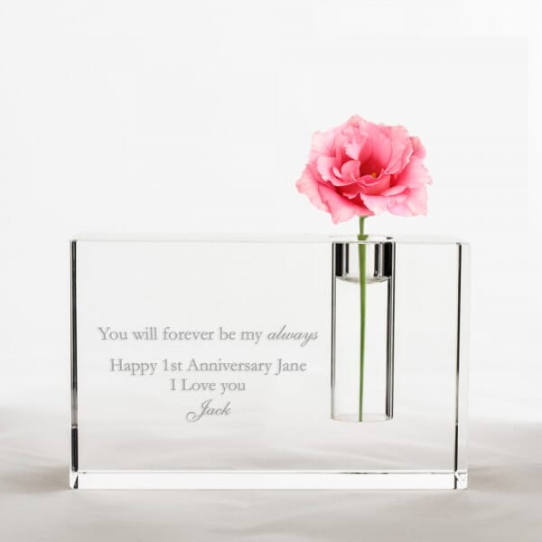 Personalised Anniversary Crystal Glass Vase