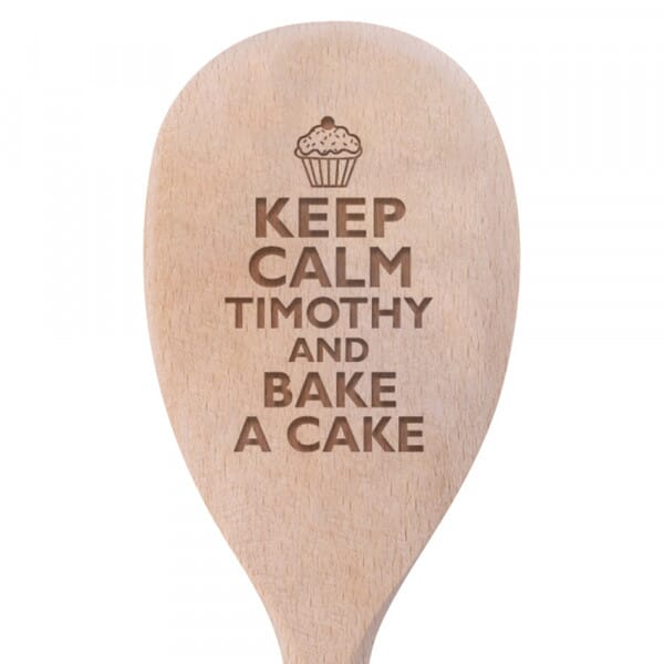 Personalised Wooden Spoon - Keep Calm, Bake a Cake