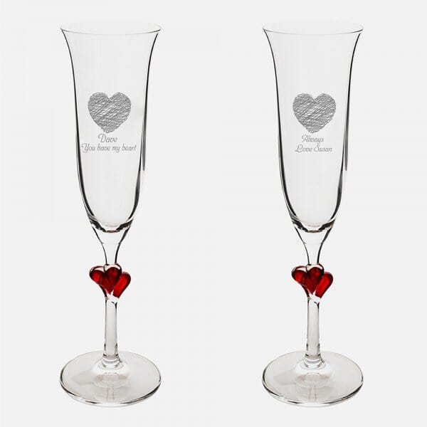Personalised Always Red Heart Champagne Flutes