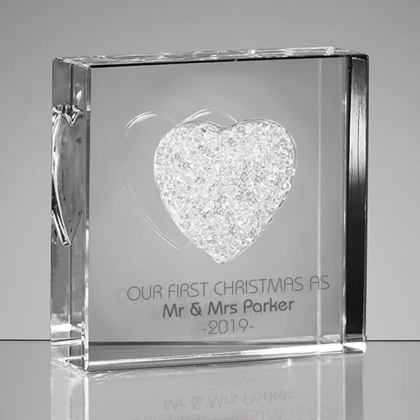 Personalised Our First Christmas As Glass Heart