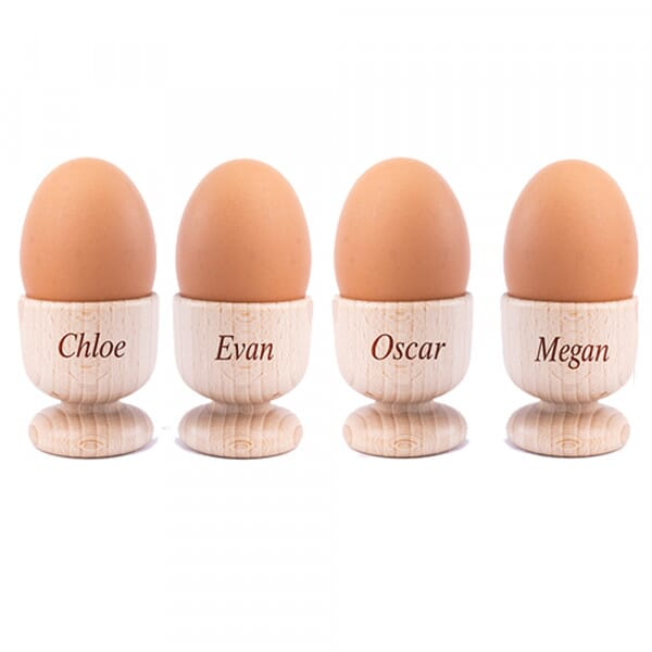 Personalised Family Wooden Egg Cups - 4 Pack