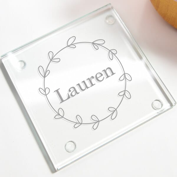 Personalised Name Glass Coasters - 4 Pack