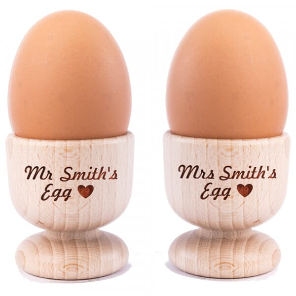 Personalised Couple's Heart Wooden Egg Cups - 2 Pack