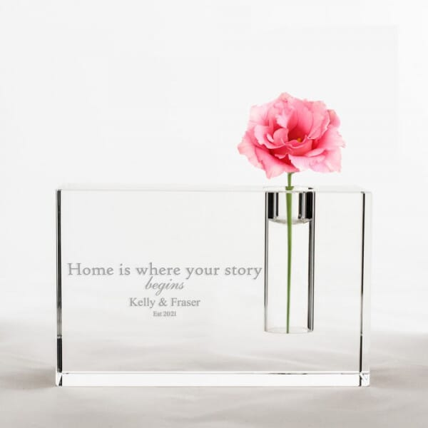 Personalised New Home Crystal Glass Vase