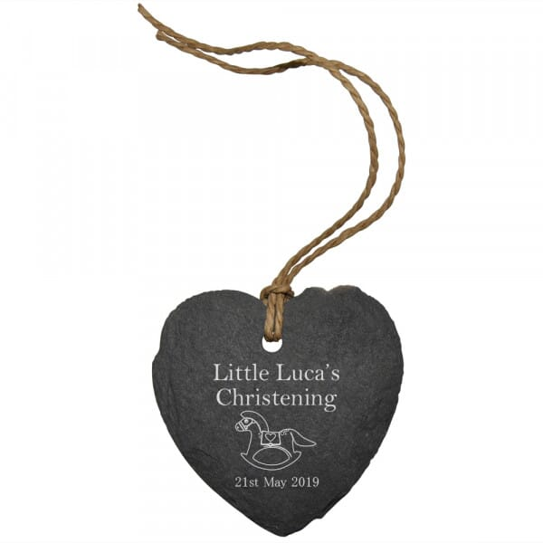 Personalised Baby Christening Small Slate Heart Sign