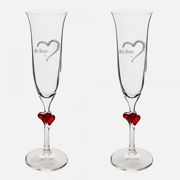 Heart Red Heart Champagne Flutes