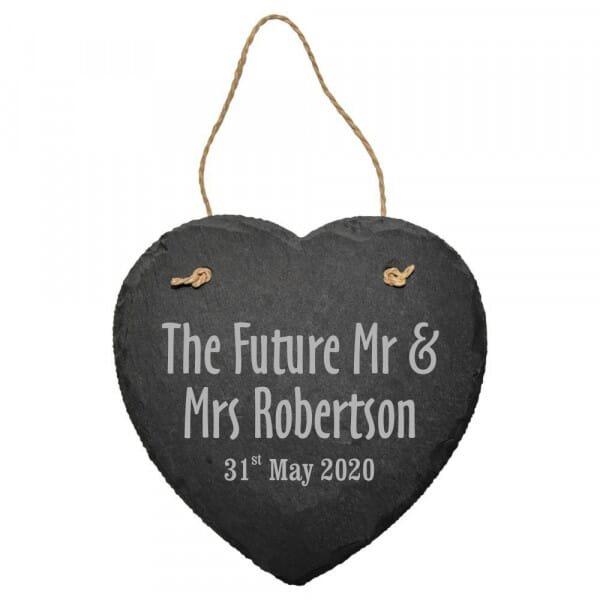 Personalised Engagement Slate Heart Sign